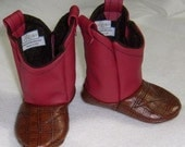 Baby Cowboy Boots, Red and Medium Brown Leather