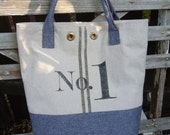 Gray Color Block Tote With Stripes And Number 1