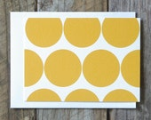 mustard circle pattern note cards - Set of 6