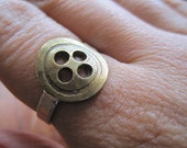 Brass Button Ring with Sterling Silver Band Size 9