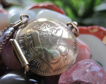 Sleazeball Heads I Win Vintage Peep Show Token Locket MADE TO ORDER.