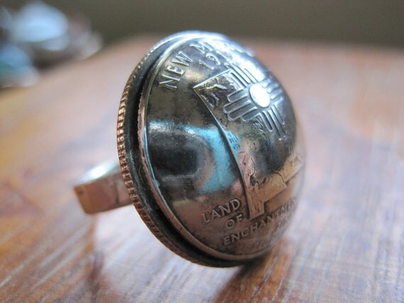 Domed New Mexico Quarter Statement Ring with Sterling Silver Band MADE TO ORDER.