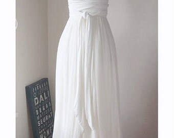 Ivory Convertible/Infinity Dress with Silk Chiffon Skirt Overlay - Floor Length