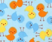 Chicks in Sky, Urban Zoologie by Ann Kelle for Robert Kaufman Fabrics, 1 Yard