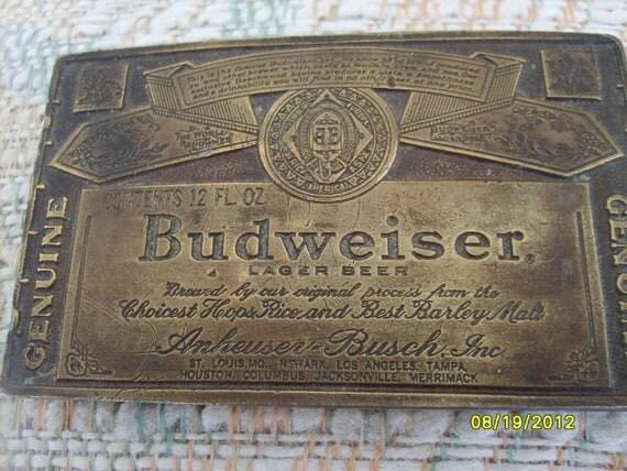 Vintage Budweiser Beer Belt Buckle with Bottle Opener