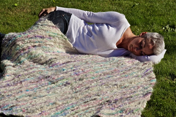 """Reserved, Hand Knit Blanket, commissioned Art Yarn,50"""" x 50 """" a Reminder of SUMMER CLOUDS, A Perfectly WARM Autumn and Winter Gift"""