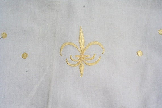 Vintage French Embroidered Sheet with Yellow Fleur de Lis