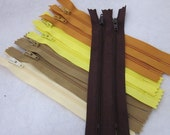 9 6 inch Gold and Brown Zippers