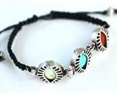 Black Macrame Friendship Bracelet Colored Stone Bracelet Amy Fine Design
