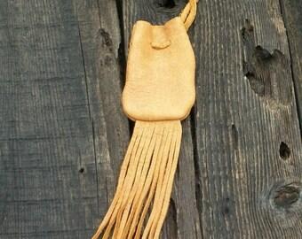 Fringed leather bag , Buckskin medicine bag , Leather crystal pouch , Fringed necklace bag