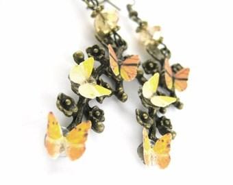 Custom Color Butterfly Earrings - Dangle Earrings - Fun Unique Earrings - Orange Jewelry