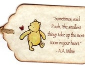 20 Winnie The Pooh, Baby Shower Favor Tags, Baby Christening, Birthday Party, Escort Cards, Place Cards, New Baby  - Vintage Style