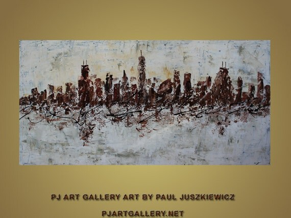 """Chicago Scape Knife Huge modern Abstract by Paul Juszkiewicz 48""""x24"""" brown cognac"""