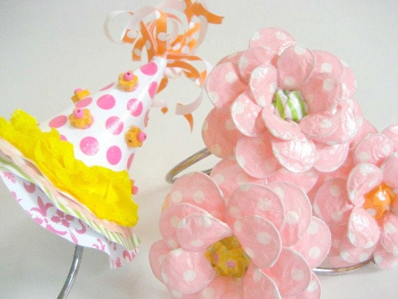 Paper Mache Party Hat and Daisy Headband Party Pack