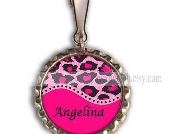 Pink Leopard Party Favors - Personalized Zipper Pulls, Backpack Zipper Pull Charm - Pink Leopard Print with personalized name