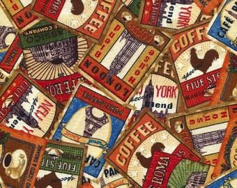 Coffee Break Labels - South Seas Imports - Half Yard