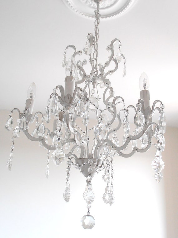 Gorgeous ARIA 6 arms, vintage stunning crystal chandelier, 1940s, crystals, white, shabby chic,  one-of-a-kind treasury item