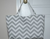 Pollyanna's Beach Tote in Storm Gray Chevron- RESERVED LISTING for HCohoon