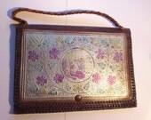 SALE Vintage tooled leather bag/1930 document holder/Moroccan leather bag/embossed leather bag/belly dancer/musical scenes/plaited