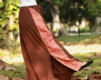 100 percent hemp skirt with batik/embroidery for Women