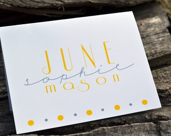 Personalized Stationery Note Cards Set of Gray and Yellow Modern Name Design