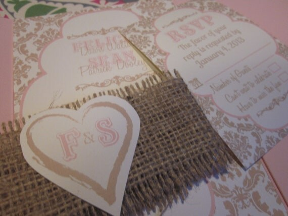Country Chic Rustic Wedding Invitation Suite with Burlap Heart Closure