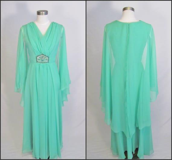 R E S E R V E D for atarijen /// 1970's Maxi Dress / Flutter Sleeves / S M