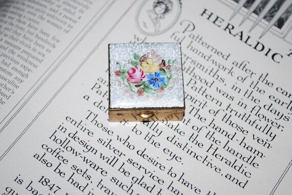 Vintage French Guilloche Floral Pill Box