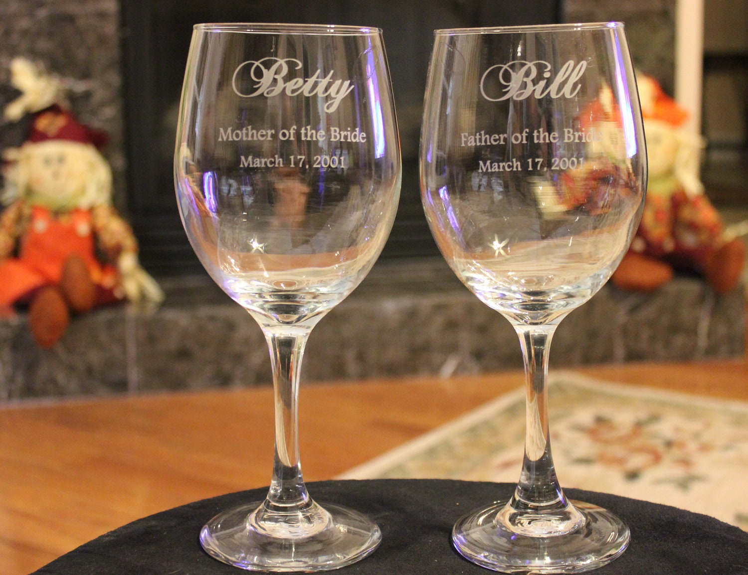 8 Wine Glass Set Wedding Party Engraved Parents Of The