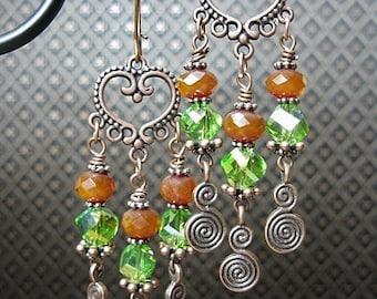Amber / Green / Antique Copper Gypsy Cowgirl Heart Chandelier Dangle Earrings - CoPPeR CRySTaL SWiRLs