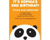 Personalized Printable Panda Birthday Invitation