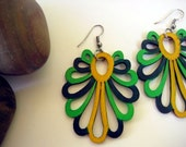 Laser Cut Petal earrings -Handpainted wood Lime Yellow Midnight green color block fashion jewelry