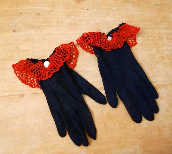Vintage 1950s Gloves - 50s Van Raalte Navy Gloves - The Gwen