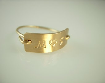 Personalized Initial Ring Gold or Silver