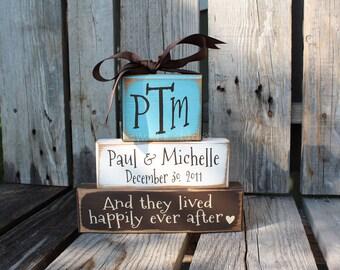 Personalized Established Name Family Monogram Block Set sign wood block set christmas wedding anniverysary birthday gift