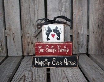 Disney Mickey Minnie Wedding Family Personalized Name Wood Block Gift Anniversary Sign Decor