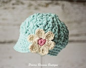 Robin's Egg Blue Newsboy Hat for Baby Girls, Crochet Baby Hats, Baby Visor Beanie with Flower, 6 to 12 Months