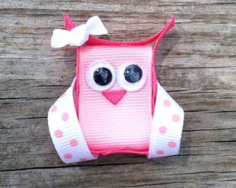 Pink Owl Hair Clip, Owl Ribbon Hair Clip, Girls Hair Bows, Toddler Hair Bows, Girls Hair Accessories,  Owl Hair Bow, Little Girls Bows