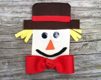 Scarecrow Hair Clip, Scarecrow Ribbon Sculpture Hair Clip, Autumn Hair Accessory, Toddler Hair Clip, FREE SHIPPING PROMO