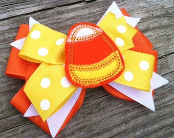 Candy Corn Hair Bow, Candy Corn Layered Hair Bow, Orange and Yellow Candy Corn Hair Bow, Toddler Hair Bow, Halloween Hair Bow, Holiday Bows