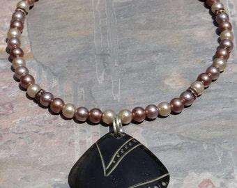 Artisan Necklace, Black Horn Pendant, Reduced Price