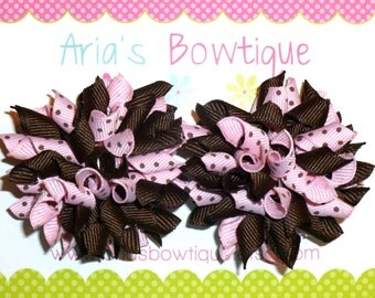 A Pair Of Light Pink And Brown Dots Mini Korker Hair Bows