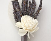 Organic  Lavender and Sola Rose Boutonniere