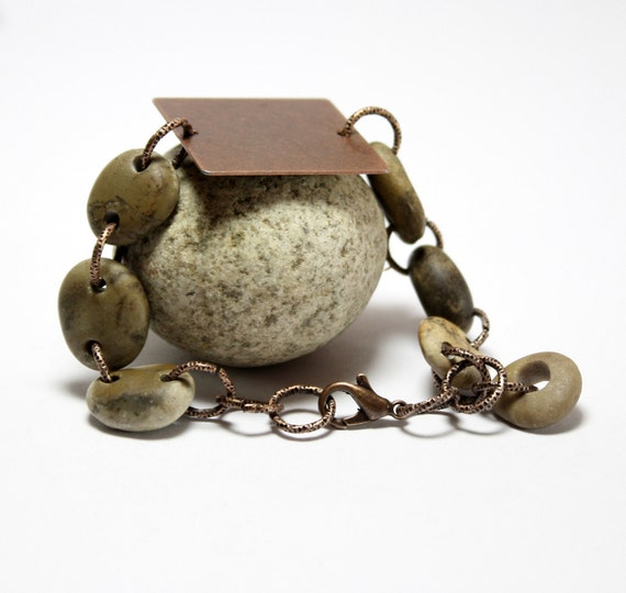 Copper Stone Bracelet Jewelry- Beach Pebble Beaded Jewellery- Wristlet Rock Bead Work- Organic Eco Friendly Gift