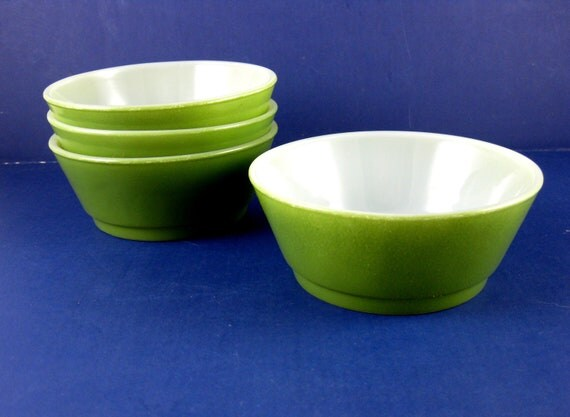 Vintage Fire King Avocado Green Stacking Cereal Bowl's 4 in Set Mint Condition