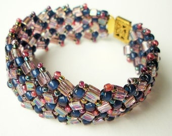 Handmade Woven Herringbone Cuff Bracelet with Blue and Pink Glass Seed Beads