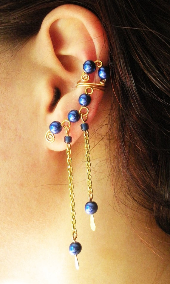 Gold Wire Handmade Earcuff with Chain dangles and Sapphire Blue Glass Pearls
