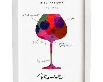 "Red Wine Art - Wine Anatomy print - Merlot Chart Illustration - 11""x15 - archival fine art giclée print"
