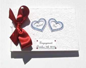 Personalized Hearts Engagement Party Guest Book