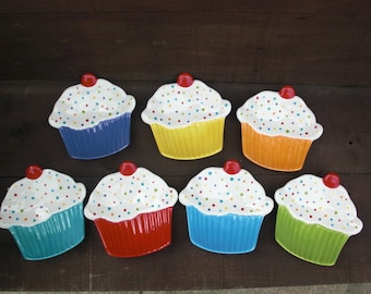 Bright Cupcake Ceramic Dessert Plate or Trinket Dish - Polka Dot Sprinkles - Bright Aqua